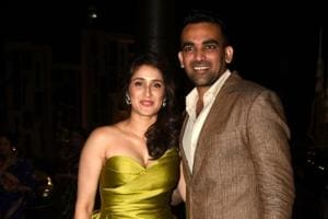 Indian cricketer Zaheer Khan and actor Sagarika Ghatge were dressed to the nines at their engagement bash in Mumbai.