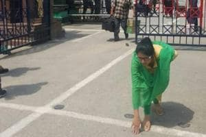 Uzma Ahmed at the Attari border on Thursday.