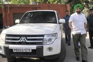 Member of Parliament  from Ludhiana Ravneet Singh Bittu with his official vehicle in Ludhiana on Thursday.