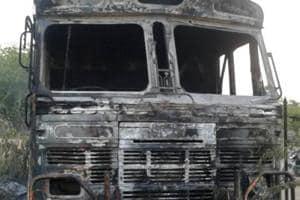 The truck burnt by the vigilantes in Bhilwara.