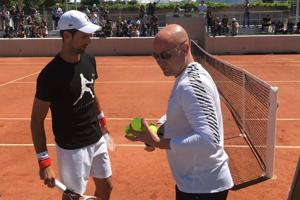 Novak Djokovic enjoys first tennis session with Andre Agassi at Roland...