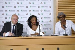 French Tennis Federation (FFT) president Bernard Giudicelli (left), Yannick Noah (right) and at a press conference on  the sideline of French Open.