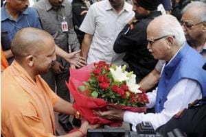 Senior BJP leader LK Advani being greeted by Uttar Pradesh Chief Minister Yogi Adityanath at the VIP Guest House in Lucknow on Tuesday. Advani appeared before a special Central Bureau of Investigation (CBI) court in connection with the Babri Masjid demolition case.