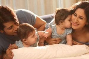 A photo from Karanvir Bohra and Teejay Sidhu's shoot with their twins.