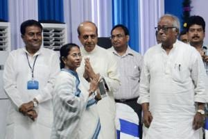 West Bengal chief minister Mamata Banerjee with MPs Dinesh Trivedi and Saugata Ray during