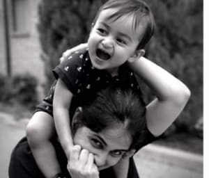 """Genelia posted this picture on Twitter with the caption, """"My little boy turns One""""."""