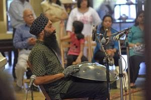Gurpreet Chana plays the hang at Bhau Daji Lad museum at Byculla in Mumbai on Thursday.