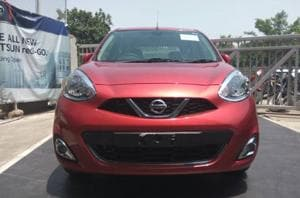 The new Nissan Micra at a company showroom in Noida, UP.