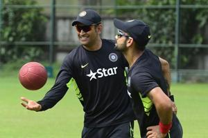 MSDhoni (L) and skipper Virat Kohli (R) form the think-tank of the Indian cricket team, a formidable mix of experience, cricketing acumen and aggression. The duo's performance will be key for India at the ICCChampions Trophy
