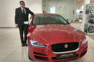 Jaguar Land Rover India president Rohit Suri with the new Jaguar XE diesel at the company showroom in New Delhi on Saturday.