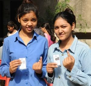 These first time voters were excited to join in polling for Patna municipal corporation election on Sunday.