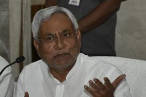 Bihar chief minister Nitish Kumar addressing mediapersons in Patna on Monday.
