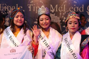 (From left) First runner-up Tenzin Khechoe, winner Tenzin Paldon and second runner-up Tenzin Nordron after winning the Miss Tibet-2017 crown at Mcleodganj, near Dharamshala, on Sunday.