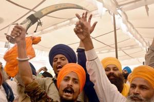 Radical Sikh activist rising pro-Khalistan slogans at Akal Takht, Golden Temple, on the 33rd anniversary of Operation Bluestar, in Amritsar on Tuesday, June 6.