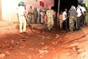 Police patrol Sukurhutu village on Monday night following a communal flare-up.