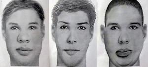 The sketches of the three suspects released by the police.