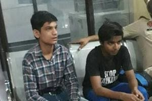 Pakistani boys Babar Ali and and Ali Raza in Amritsar before their repatriation on June 5.
