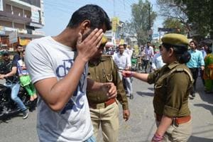 Meerut, India - Police made an action at RG College under Anti Romeo drive.(Chahatram/HT Photo)