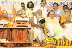 Deputy chief minister Keshav Prasad Maurya along wih BJP leader Subramanian Swamy at the birthday celebrations of Ram Janmabhoomi Nyas chief Mahant Nritya Gopal Das in Ayodhya.