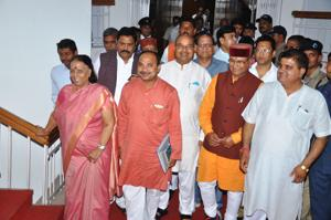 Leader of Opposition Indira Hridyesh (left) and other MLAs enter the assembly for the ongoing budget session on Friday.