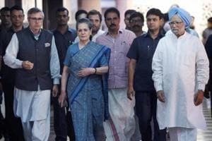 Former Prime Minister Manmohan Singh with Congress President Sonia Gandhi, party vice president Rahul Gandhi and former Jammu and Kashmir chief minister Omar Abdullah after a meeting to discuss the strategy for the upcoming Presidential elections, in New Delhi on May 26.