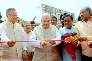 BJP president Amit Shah inaugurates a programme in Raipur on Friday, where he made the controversial comments.