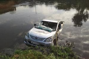 Ten people were killed when their car fell into a canal in Mathura.