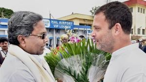 Congress Vice President Rahul Gandhi with former Karnataka Chief Minister Siddaramiah.  No government in the past 33 years has managed to beat anti-incumbency.