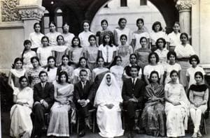 Saris, salwars, Sadhana and Twiggy hair styles. Students from the first batch of Science graduates pose at Sophia College with their teachers and principal (centre, in white), in 1967.