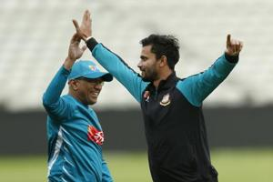 Bangladesh cricket team coach Chandika Hathurusingha (L) and Mashrafe Mortaza during a training session at Edgbaston in Birmingham on Tuesday, preparing for their ICC Champions Trophy semifinal vs Indian cricket team to be played on Thursday..