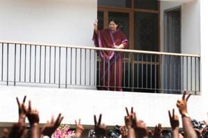 AIADMK leader JJayalalithaa greets her supporters at her Poes Garden house in Chennai on 13 May, 2011.