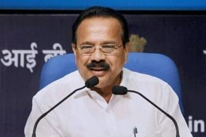 Union Minister for Statistics and Programme Implementation, DV Sadananda Gowda addresses a press conference on the achievements of his Ministry during 3 years of NDA Government, in New Delhi on June 13, 2017.