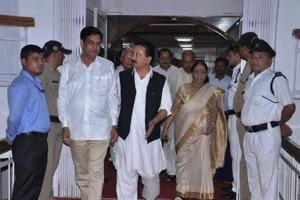 Congress state president  Pritam Singh and Leader of the Opposition Indira Hridayesh arrive at the Uttarakhand assembly, in Dehradun on Wednesday.