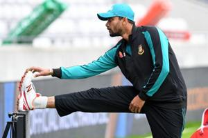 Bangladesh captain Mashrafe Mortaza attends a training session at Edgbaston in Birmingham on Wednesday, ahead of the ICC Champions Trophy semi-final against India.