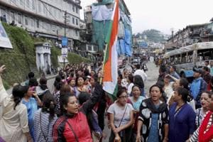 Members of Gorkha Janmukti Morcha during a strike in Darjeeling on Tuesday.