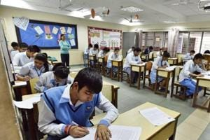 CBSEClass 12 students during the board exams at an exam centre in Blue Bells Model School, Gurgaon.
