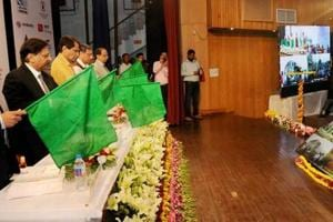 Railways minister Suresh Prabhu attends an event at the National Rail Museum in New Delhi.