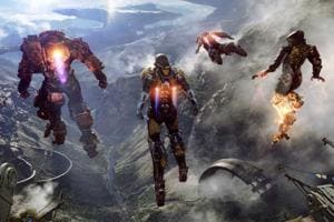 A promotional still from Bioware's game Anthem that was revealed at Electronic Entertainment Expo 2017.