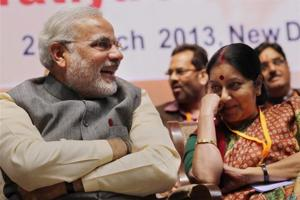 If Sushma Swaraj is the BJP's choice for president it will be the final proof that she has reset her terms with Prime Minister Narendra Modi (File Photo)