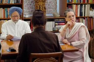 New Delhi: Former Prime Minister Manmohan Singh, Congress president Sonia Gandhi during the Congress Working Committee (CWC) Meeting at 10 Janpath.