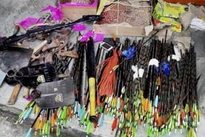 A compound crossbow and two longbows figured among the 'weapons' seized during a televised raid conducted on the GJMoffice in Darjeeling.