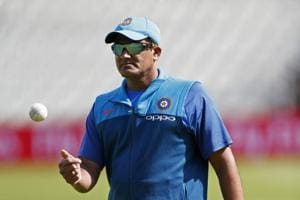 Indian cricket team coach Anil Kumble during the nets during the ICC Champions Trophy 2017 in England.