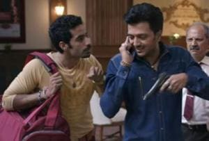 Riteish Deshmukh and Bhuvan Arora in a still from Bank Chor.