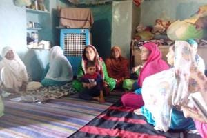 Family members of Zaffar Hussein, who was allegedly beaten to death by Rajasthan government officials on Friday, at their home in Pratapgarh.