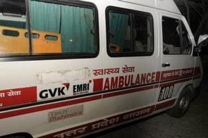 The word 'Samajwadi' preceding 'Swasthya Seva' (in Hindi) is covered on a government ambulance. (Ashok Dutta / HT Photo)