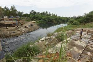 The Shahdara drain empties into the Yamuna River at Kalindi Kunj.