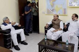 Union ministers Rajnath Singh and Venkaiah Naidu meeting with CPI(M) general secretary Sitaram Yechury on presidential poll as part of the ruling party