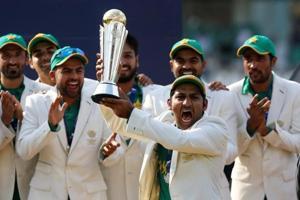 Pakistan celebrate winning the ICC Champions Trophy.