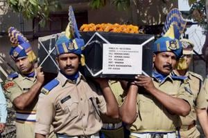 CRPF jawans carrying the coffin of HC Premdas Mendhe, killed in an ambush by Maoists in Sukma district of Chhattisgarh, on April 24, 2017.