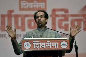 Shiv Sena chief Udhav Thackrey addresses party workers at Matunga in Mumbai on Monday.